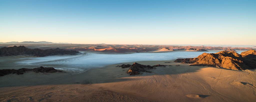 Mist at Sunrise from balloon in  Sossusvlei Namibia