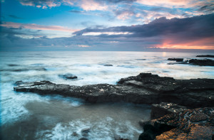 Sunrise from point South of Byer's Hole near Souter Lighthouse W