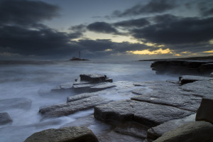 Sr Mary's Lighthouse at Dawn with High Tide