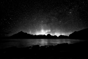 Star Field and Northern Lights over Cullins in Skye from Elgol